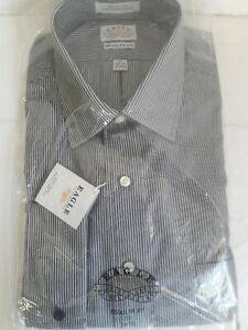 Eagle Shirtmakers men's 17 34/5 100% Cotton Gray Pinstripe French Cuff