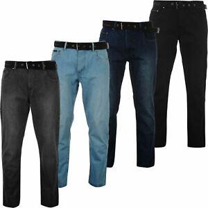 Mens Pierre Cardin Gents Belted Jeans Straight Fit Denim Trousers Long Pants