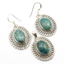 92.5 Solid Silver AAA Grade TURQUOISE December Birthstone SET Earrings & Pendant