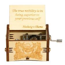 Vintage Wooden Engraved Hand Crank Clockwork Music Box Toys Kids Birthday Gifts