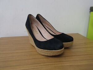 OFFICE DARK NAVY BLUE SUEDE LEATHER WEDGE HEELED SHOES SIZE 39, 6, RRP £65