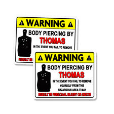 """THOMAS Body Piercing Bullet Holes Funny Stickers Decals 2 PACK 5"""""""