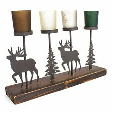 Metal Christmas Trees &  Reindeers 4 Candle Holder with Wooden Base