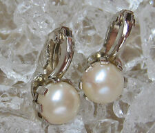 Nice★ Perlen Ohrringe in aus ☆750 Gold ★5gr. Perl Ohr Clips mit Perle with Pearl