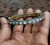Victorian Natural Uncut Diamond Polki Gold & 925 Sterling Silver Bangle Bracelet