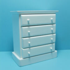 Dollhouse Miniature Wood Bedroom Dresser 4 Drawers in White Cl10481
