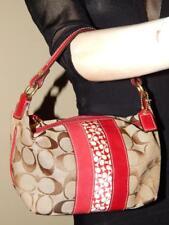 COACH Small Khaki/Red Signature  Stripe Top Handle Pouch HandBag Baguete