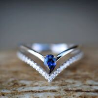 1.6ct Pear Cut Blue Sapphire Engagement Ring 14k White Gold Finish Split Shank