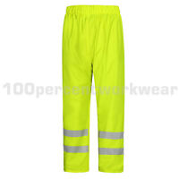 Aqua Yellow High Visibility Lightweight Waterproof Over Trousers Pants Hi Viz