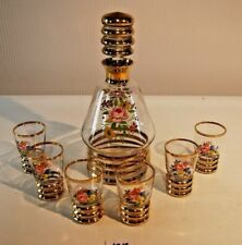 C127 Carafe à liqueurs avec 6 verres peints à la main