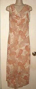 STUDIO Y Dress Paisley Floral Antique Rose Chiffon Lined  Sz 11 *XLNT++
