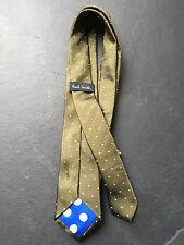PAUL SMITH corbata de seda Angostas Oro con motas blancas Polka Forro 6cm
