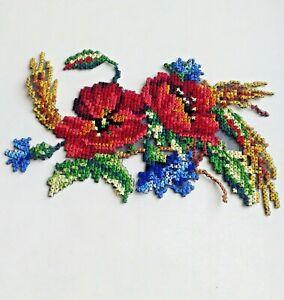 Poppies Cornflowers Wheat Cross-Stitch Handmade Embroidered Patch