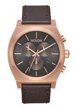 Nixon Time Teller Chrono Leather , 39 mm,Rose Gold / Gunmetal / Brown, A1164-200