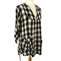 Masai Size S 10 12 White Grey Check Linen Blend Top Tunic Dress Summer Holiday