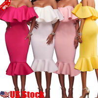 Womens Flounce Ruffle Off Shoulder Short Sleeve Slim Bodycon Cocktail Midi Dress