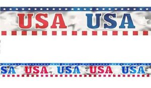 Red & Blue USA Printed Foil Banner ~ 4th July USA Patriotic Day Party Decoration