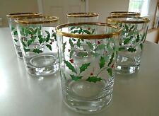 Vintage Lenox Holiday Holly Berry Whiskey Glasses Gold Rim Set of 6