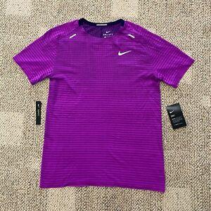 Mens Size Medium Nike Breathe Short Sleeve Running Shirt Top Magenta CJ5344-551