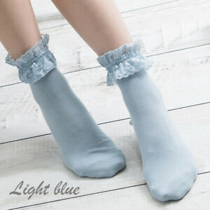 1Pair Women Cotton Socks Lace Ruffle Middle tube Warm Soft Solid Spring Casual