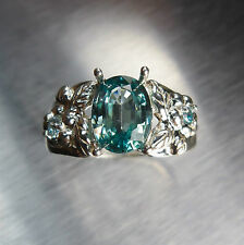 2.65cts Natural Paraiba Blue Zircon 925 Silver ring, N1/2 or 7 or resize