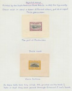 URUGUAY STAMPS 1897 RARE DIE PROOFS 1p+2p SOUTH AMERICAN BANKNOTE, SIGNED EJ LEE