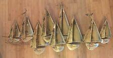 Brutalist Vintage Brass Fleet Of Sailboats Wall Hanging Signed Hyink California