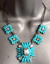 Blue Flower Gem Statement Necklace •Wedding Gift Party present  BIRTHDAY EVENING
