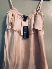 NWT $59.90 MANGO SUIT S SILK relaxed tank top cami dusty pink beige peach ruched