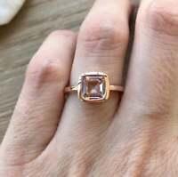 1.2ct Asscher Cut Peach Morganite Engagement Ring Bezel Set 14k Rose Gold Finish