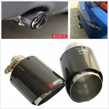 Glossy Real Carbon Fiber Car Exhaust Muffler Pipe Tips 63mm Inlet/114mm outlet