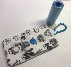 Handmade Doggy Poo Bag Holder With Clip- Cute Cartoon Doggy Fabric