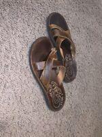 Olukai Paniolo Slide Embroidered Womens Sandals 8 W Beach Leather