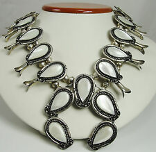 Old Pawn Navajo Sterling Silver Mother of Pearl Squash Blossom Necklace
