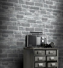 URBAN GREY SILVER OLD BRICK WALL QUALITY FEATURE DESIGNER WALLPAPER RASCH 217346