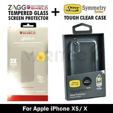 Otterbox Tough Clear Case Cover for iPhone X XS + Zagg Glass Screen Protector