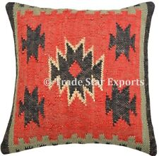 Indian Hand Woven Kilim Cushion Cover 18x18 Ethnic Jute Rug Throw Pillow Case