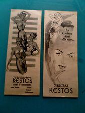 2 petites publicités anci MODES LINGERIES GAINES / PARURES DE KESTOS VAHINE (L7)