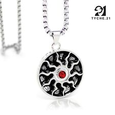 Mens Apollo God of Sun Symbol Pendant Silver Stainless Steel Necklace Box Chain