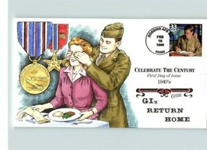 Hand Painted WORLD WAR II GI's Return Home, Celebrate the Century 1940s, FDC