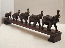 """Vintage Hand Carved Dark Wood Parade of 5 Lucky Elephants Figurine ~ 13"""" Long"""