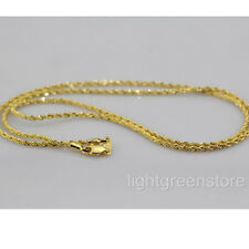 Womens Mens 18K Yellow Gold Filled Knot Necklace Thin Rope Chain 2mm wide