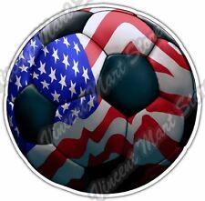"American Soccer Ball USA Flag Football Sport Car Bumper Vinyl Sticker Decal 4.6"""