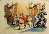 1961 Postcard vintage Fox Wolf Old postcard Russian Cartoon Children postcard