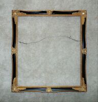 Picture Frame Black & Gold Wood & Gesso for Print Portrait Painting or Mirror