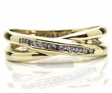 H Samuel 0.10ct Diamond Crossover Ring 9ct Gold Ring Size L-M Save £££'s