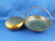 BRASS DISH SET LOT OF 2 WITH LID & HANDLE MADE IN INDIA BLUE GREEN PATTERN STAR