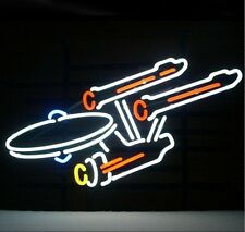 Star Trek Enterprise Space  Handcrafted Real Glass Neon Sign 17''X14'' Q221S