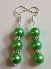 Beautiful 8mm green 3 glass pearl dangle earrings tibet silver rhinestones.