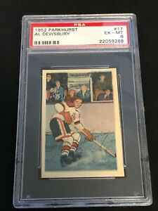1952 Parkhurst AL DEWSBURY PSA 6, Chicago Blackhawks, No.17